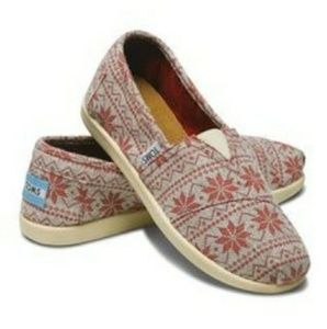 Toms Red Beige Snowflake Wool Slip On Shoes Flats